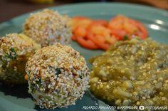 Picadita Vegetariana II – Babaganush con Pseudo-Falafel y Ensalada Cruda