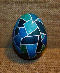 Blau gebeizt Glas Pysanky Ei