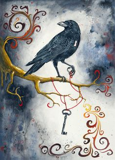 Heartstrings & Raven Wings Giclee Print 11x14 by BCDuncanDesign