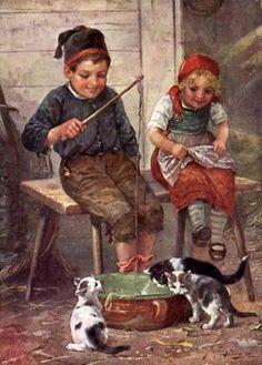 Josef Süss (1867 – 1937, Austrian) - Children Playing With Cats