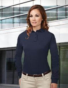 f52f3ec0a0 Tri-mountain Womens Cotton Poly 60 40 Knit LS Polo Shirt