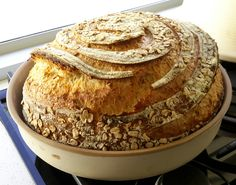 Peter Dobson's amazing Cloche-baked Rolled Oat Boulle. Excellent lame/grignette work!