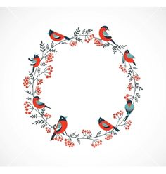 Christmas wreath with birds and ashberry vector Weihnachtskranz mit Vögeln und ashberry Vektor Christmas Wreaths, Christmas Cards, Vector Christmas, Christmas Printables, Vintage Christmas, Christmas Tree, Party Banner, Hippopotamus For Christmas, Corona Floral