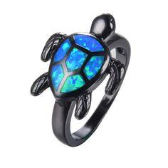 Blue Opal Turtle Ring - Black Gold Filled