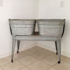 Wheeling Galvanized Double Wash Tub, I have one of these but do not know what to use it for inside the house in the winter? Potting Tables, Wash Tubs, Country Decor, Country Living, Home Collections, Entryway Tables, Shabby Chic, Antiques, Laundry Room