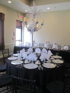 Gorgeous Candelabra centerpiece #capriottiscatering #capriottispalazzo #wedding #centerpiece