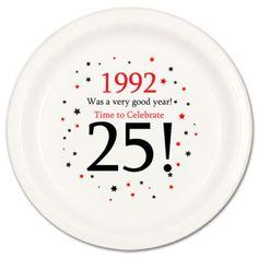 "Happy 25th Birthday (Age 25) ""1992"" Party Supplies DESSERT CAKE PLATES"