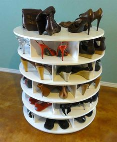 Here are other shoe organizers. I really like the Lazy Susan/Lazy Shoe Zen design. It wouldn't be hard to DIY and you could make it as tall as you want.
