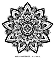 Mandala, highly detailed zentangle inspired illustration, ethnic tribal tattoo motive, black in on white isolated background. Adult coloring book page. Atrapasueños Tattoo, Knee Tattoo, Tattoo Motive, Tatoo Art, Tattoo Fonts, Body Art Tattoos, Tribal Tattoos, Small Tattoos, Tattoos For Guys