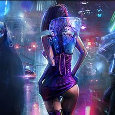 Cyberpunk lady android robotic cyborg woman, back view, in futuristic cyberpunk fashion costume scifi tech outfit, concept art female character design matte painting illustration artwork, dark, blade runner inspired purple neon fantasy girl in heavy armour tech outfit with helmets guns and weapons, inspiration ideas