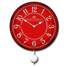 "12"" with a gently swinging pendulum http://www.clocksaroundtheworld.com/j-tyler-clocks.html"