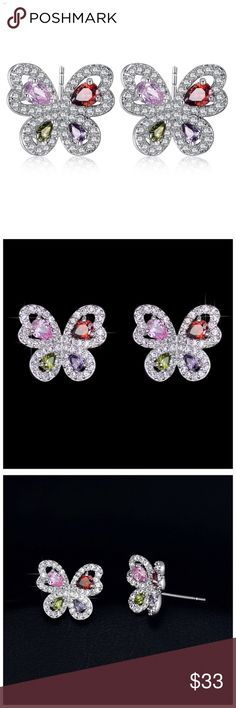 """Swarovski Crystals Dainty Butterfly Earrings E1 ‼️ PRICE FIRM ‼️ 10% DISCOUNT ON 2 OR MORE ITEMS FROM MY CLOSET ‼️   Butterfly Earrings With Swarovski Crystal  Retail $64  To say that this is a spectacular pair of earrings would be an understatement. Beautifully & skillfully handcrafted using the finest Swarovski crystals with a 14K white gold overlay. Approximately 1/2"""" long.  These earrings are unbelievably gorgeous! Please check my closet for many more items including designer clothing…"""