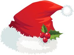 Transparent Santa Hat with Mistletoe PNG Picture
