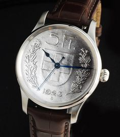 1923 5 Franc Coin now a watch dial from The RGM Watch Company