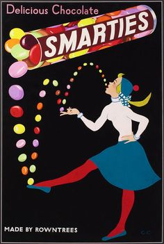 An advert for Smarties with bold colours on a black background. Having the…