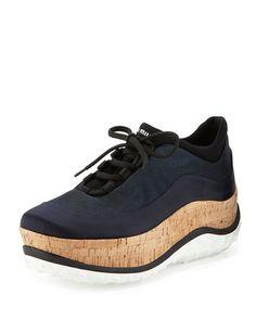 S0D0Z Miu Miu Colorblock Cork Platform Sneaker, Blue (Bleu)