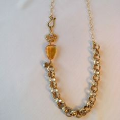 Gold Chain, Citrine & Crystal Crown Necklace