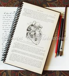Art Journal inspiration: Valentine Gifts - Anatomical Heart Journal - Grays Anatomy - Handmade Recycled Vintage Journal, Diary, Notebook, Sketchbook  at StoriesDivinations on Etsy