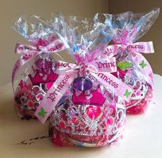 Cute idea for a treat bag- Filled with a crown and ring for each girl