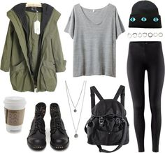 black combat boots, leggings, and army green jackets(AKA my obsession)