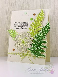 A Kept Life: Tag You're It - Papertrey Ink Meadow Greens, Card Stock:  PTI Rustic Cream Ink:  Versafine Onyx Black, Impress Birch, Mojito, Olive Grove Sequins:  Wood Grain - Serendipity, Colored - Pretty Pink Posh Twinery Twine Honeydew