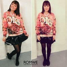 ROMWE Rose D 3D Printed Sweatshirt