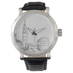 London Elegant Sketch White Sophisticated England Wrist Watch - drawing sketch design graphic draw personalize