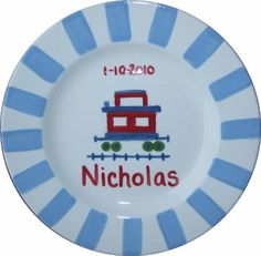 Striped Caboose Personalized Ceramic Plate...Hmmm Idea from another pin buy a plate and use a sharpie and bake:)