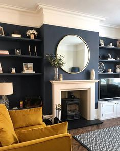 My quickest point & shoot ever 📸 After nearly getting blown away this morning., Home Accessories, My quickest point & shoot ever 📸 After nearly getting blown away this morning the sun came out for a split second and I remembered what it…. Navy Living Rooms, New Living Room, Home And Living, Dark Walls Living Room, Living Room Ideas Dark Blue, Wallpaper For Living Room, Alcove Ideas Living Room, Fireplace Feature Wall, Living Room Decor Fireplace