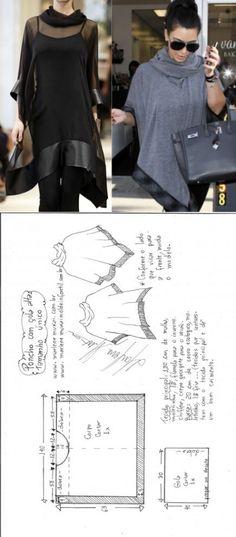 Poncho pelerine gola alta | DIY - molde, corte e costura - Marlene Mukai