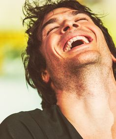 Ian Somerhalder..-- Must say, I love this. It isn't your standard broody photo that everyone finds so hot. It's pure laughter, and it made me smile as soon as I saw it!