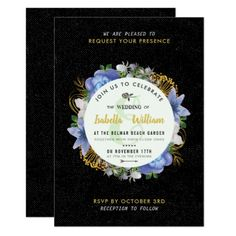 Blue Gold Hydrangeas Floral Save the Date Wedding Card - romantic wedding gifts marriage party idea cyo custom Gold Invitations, Unique Wedding Invitations, Invitation Card Design, Watercolor Wedding Invitations, Wedding Invitation Wording, Floral Invitation, Custom Invitations, Romantic Wedding Gifts, Floral Save The Dates