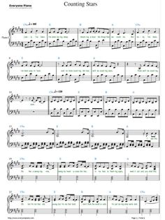 Free Counting Stars sheet music is provided for you. Counting Stars is a song recorded by American pop rock band OneRepublic from their third studio album, Native. Clarinet Sheet Music, Violin Music, Piano Songs, Guitar Songs, Guitar Chords, Cello, Pop Piano Sheet Music, Music Music, Banjo
