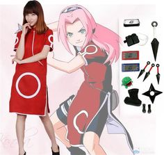 Japanese Anime Shippuden Sakura Haruno 1 Cosplay Costume Red Dress Shoes Outfit #Unbranded #Anime