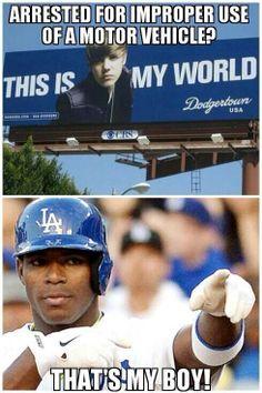 Bieber / Puig #DodgersSuck #motd via MLB Memes