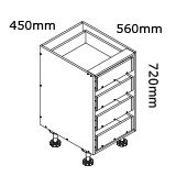 kaboodle flat pack kitchen 450mm four drawer base cabinet