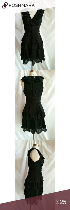 Jessica Simpson Size 2 Black Cocktail Dress Side zipper.  Polyester.   Lined Jessica Simpson Dresses