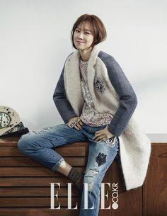 Gong Hyo Jin For Elle Korea September 2014 Lee Sun Kyun, Denim Editorial, Gong Hyo Jin, Korean Star, Korean Actresses, All About Fashion, Fashion Outfits, Womens Fashion, Korean Fashion