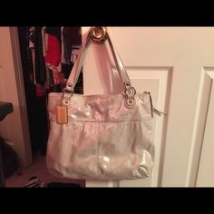 Authentic, Coach bag, great shape. GREAT PRICE.. Christmas sale!! 2 days only !! Coach tote, white/silver metallic color. Light blue inside. Machine washable.. Coach Bags Totes