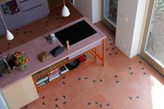 Kitchen (Client installation) with David & Goliath cement tile Noah Rosé / Black 20x20cm in combination with Uni tiles in colour Rosé. Project: Bram Oosterhuis Picture: Paul Swagerman David And Goliath, Cement Tiles, Uni, Colour, Bathroom, Kitchen, Modern, Furniture, Black