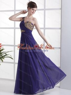 One Shoulder For Prom Dress With Beading Ruch and Floor-length- $153.46  http://www.fashionos.com/  sleeveless prom dress   chiffon prom dress   empire prom dress   zipper up prom dress   one shoulder prom dress   junior plus size celebrity evening dresses   cheap sexy celebrity evening gown  