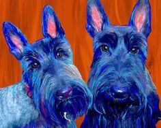 Scottish Terrier Art Print on Canvas Two Scotties by Art Paw, http://www.amazon.com/dp/B000F7VABG/ref=cm_sw_r_pi_dp_iKgprb11ECHJ5