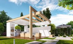 Patio roof design outdoor lounge 46 Ideas for 2019 Outdoor Patio Shades, Small Outdoor Patios, Outdoor Pergola, Backyard Pergola, Backyard Sheds, Pergola Shade, Patio Roof, Backyard Landscaping, Outdoor Lounge