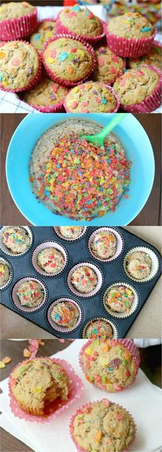 How to make Easy Fruity Pebbles Breakfast Muffins. Quick and easy Fruity Pebbles Breakfast Muffins – a family favorite and the perfect grab-and-go breakfast or anytime snack! Great for a make-ahead breakfast. These fun, colorful, and nutritious breakfast muffins make both Mom and kids happy. #fruitypebbles #cereal #breakfast #breakfastmuffin #easybreakfast #healthybreakfast #ad #pebblescereal @pebblescereal
