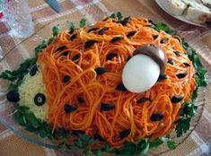 """Салат """"Ежик"""" с крабовыми палочками и корейской морковкой"""