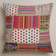 Multicolor Patchwork Whipstitch Throw Pillow - contemporary - Pillows - Cost Plus World Market