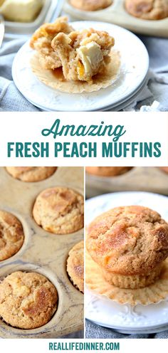 Bursts of fresh peaches in a delicious muffin with slightly spiced undertones. So much like peach cobbler but in the perfect form for a handheld breakfast or snack. Peach Muffin Recipes, Simple Muffin Recipe, Cake Mix Muffins, Peach Muffins, Healthy Bread Recipes, Banana Bread Recipes, Buttered Corn, Fall Baking, Easy Snacks