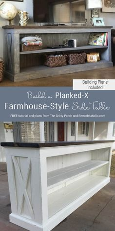 - Furniture Designs - Free Building Plans For Farmhouse Style Sideboard Table, Tv Console Table, By Th. Free Building Plans For Farmhouse Style Sideboard Table, Tv Console Table, By The Gritty Porch Featured On Remodelaholic. Diy Furniture Table, Diy Furniture Plans, Rustic Furniture, Furniture Storage, Building Furniture, Farmhouse Style Furniture, Retro Furniture, Furniture Design, Diy Table