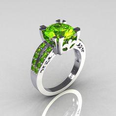 Modern Vintage 10K White Gold 3.0 Carat Green Peridot Solitaire Ring R102-10KWGGPP. $799.00, via Etsy.