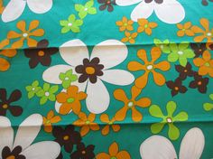 Vintage Floral Fabric by MemphisNanney on Etsy Fabulous Fabrics, Large Flowers, Vintage Fabrics, Vintage Love, Floral Fabric, Flower Prints, Old And New, 1960s, Fun